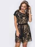 Двухслойное платье с пайетками на фатине бежевое 42843, фото 4