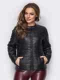 Демисезонная куртка черного цвета без воротника 15154, фото 2