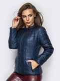 Демисезонная куртка тёмно-синего цвета без воротника 15155, фото 2