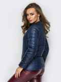 Демисезонная куртка тёмно-синего цвета без воротника 15155, фото 3