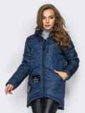 Тёмно-синяя куртка с капюшоном и нашивками спереди 15163, фото 2