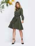 Вельветовое платье-рубашка цвета хаки 44860, фото 2