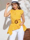 Желтая блузка в полоску с асимметричной баской 49123, фото 2