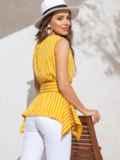Желтая блузка в полоску с асимметричной баской 49123, фото 4
