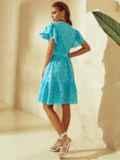 Бирюзовое платье с широким воланом по подолу 53985, фото 4