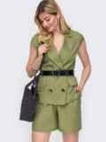 Льняной комплект цвета хаки из жакета и шорт  48189, фото 1