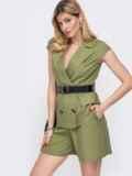 Льняной костюм цвета хаки из жакета и шорт  48189, фото 2