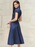 """Платье на запах с двухъярусным рукавом """"крылышко"""" синее 22028, фото 2"""