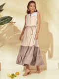 Расклешенное платье-макси без рукавов с воротником-стойкой бежевое 54255, фото 3