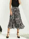 Шифоновая юбка-миди с абстрактным принтом черная 53876, фото 2