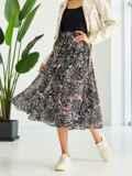 Шифоновая юбка-миди с абстрактным принтом черная 53876, фото 4