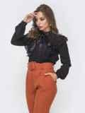 Шифоновая блузка с воротником-аскот и рюшами чёрная 41603, фото 2