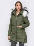 Зимняя куртка с удлиненной спинкой и капюшоном хаки 41521, фото 2