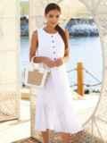 Белое платье-трапеция из хлопка без рукавов 54163, фото 3