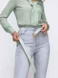 Укороченные джинсы серого цвета с потёртостями 49420, фото 2