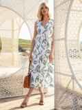 Белое платье без рукавов с принтом и V-образным вырезом 54240, фото 2