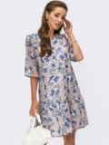 Бежевое платье-трапеция из шифона с принтом и коротким рукавом 54239, фото 1