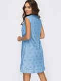Голубое платье-трапеция со встречными складками по полочке 54337, фото 4