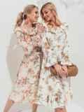 Платье с принтом и воланом по вырезу молочное 45553, фото 1