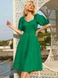 Расклешенное платье зеленого цвета с коротким рукавом 54241, фото 2