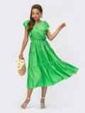 Зеленое платье с расклешенной юбкой и оборками 54243, фото 2