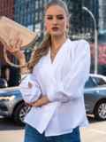 "Двубортная блузка с рукавом ""летучая мышь"" белая 49687, фото 3"