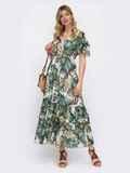 Шифоновое платье с принтом и резинкой по талии зеленое 48071, фото 1