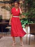 Красное платье в горох с коротким рукавом и расклешенной юбкой 54473, фото 2