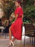 Красное платье в горох с коротким рукавом и расклешенной юбкой 54473, фото 4