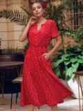 Красное платье в горох с коротким рукавом и расклешенной юбкой 54473, фото 5