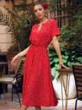 Красное платье в горох с коротким рукавом и расклешенной юбкой 54473, фото 6