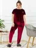 Бордовая пижама батал из велюра с футболкой и брюками 53179, фото 2