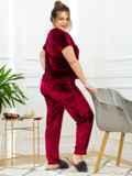 Бордовая пижама батал из велюра с футболкой и брюками 53179, фото 3