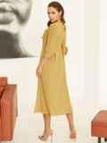 Платье с завышенной талией и юбкой со складками жёлтое 53052, фото 4
