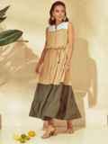 Расклешенное платье-макси с воротником-стойкой бежевое 53794, фото 4