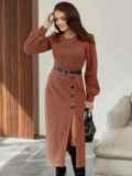 Терракотовое платье из жаккарда с разрезом и пуговицами спереди 55291, фото 3