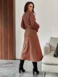 Терракотовое платье из жаккарда с разрезом и пуговицами спереди 55291, фото 4