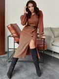Терракотовое платье из жаккарда с разрезом и пуговицами спереди 55291, фото 1