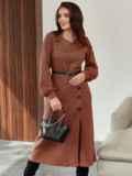 Терракотовое платье из жаккарда с разрезом и пуговицами спереди 55291, фото 2