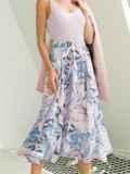 Шифоновая юбка-миди с абстрактным принтом розовая 54190, фото 2
