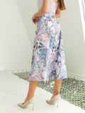 Шифоновая юбка-миди с абстрактным принтом розовая 54190, фото 3