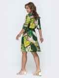 Платье-рубашка с принтом и резинкой по талии зеленое 46601, фото 3