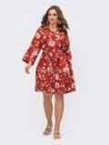 Принтованное платье-рубашка терракотового цвета на пуговицах 54118, фото 2