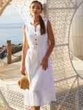 Белое платье без рукавов из прошвы с расклешенной юбкой 54234, фото 2