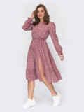 Розовое платье в горошек с юбкой-клеш 53849, фото 3