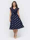 Расклешенное платье в горошек темно-синего цвета 47042, фото 1