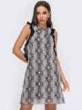 Черное платье из сетки с контрастной вышивкой и оборками 53094, фото 2