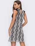 Черное платье из сетки с контрастной вышивкой и оборками 53094, фото 3