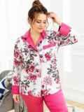 Пижама батал с цветочным принтом и брюками розовая 53182, фото 2