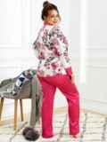 Пижама батал с цветочным принтом и брюками розовая 53182, фото 3